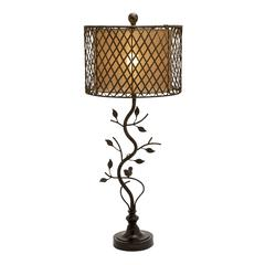 Benzara Beautiful Metal Polystone Rattan Table Lamp