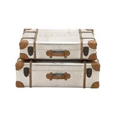 Benzara Smart Patterned Wood Aluminum Case Set Of 2