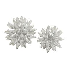 Benzara Silver Polystone Table Decorative Set Of 2