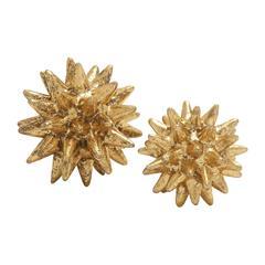Golden Polystone Table Decorative Set Of 2