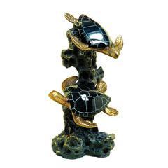Benzara Black Polystone Sea Turtle 12 Inches Wide Artistically Designed