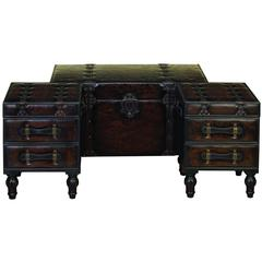 Benzara Wood Leather Trunk Set Of 3 Covered With Leather