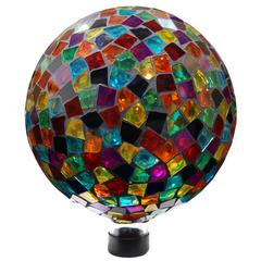 "Benzara 10"" Mosaic Gazing Ball - Red/Blue/Yellow"