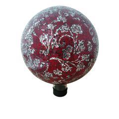 "Benzara 10"" Mosaic Glass Gazing Globe With Flower Pattern - Red"