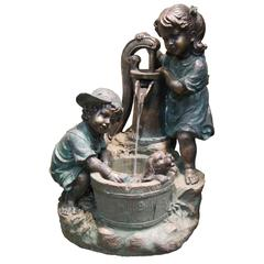 33 Inch Two Bronze Kids Giving A Bath To Their Dog Fountain