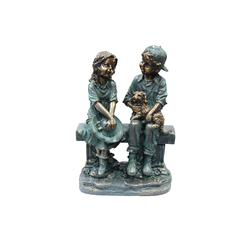 Benzara Girl And Boy Sitting On Bench With Puppy Statue