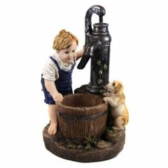 26 Inch Boy And Water Pump Fountain With Led Light