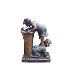 Benzara Boy And Girl Drinking Water Fountain With Led Light