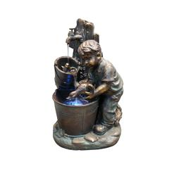 Benzara Boy Washing Duck In Bucket Fountain With Led Light