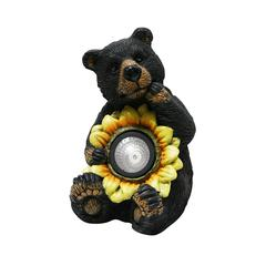 Benzara Black Bear With Solar Sunflower Garden Statue