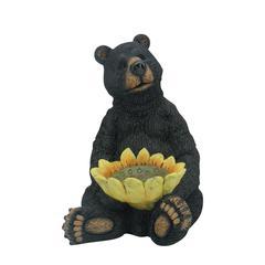 Benzara Black Bear Sitting With Sunflower Birdfeeder
