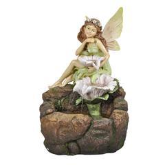 Fairy W/ White Flowers Floor Fountain, W/ Led Light