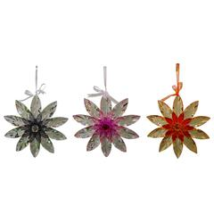 "Acrylic Hanging 10"" Flowers Outdoor Decor - Assorted 6 With 3 Colors"