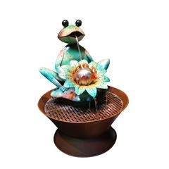 Benzara Frog Metal Fountain