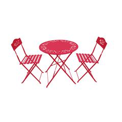 Benzara Metal Bistro Set With Two Chairs - Red