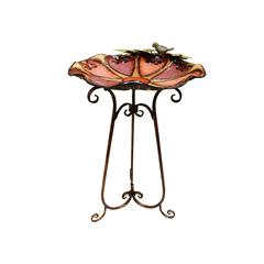 "Metal Colorful Birdbath With Bird And Leaves 31""H"