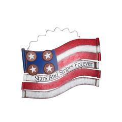 "American Flag Metal Wall Decor 18""L"