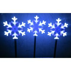 Snowflake Flashing Garden Stakes 12 Led Per Stake - Set Of 3