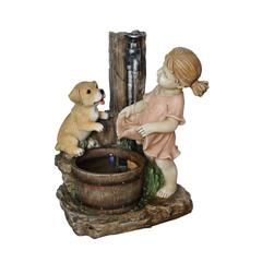 20 Inch Girl With Dog Spout Bucket Fountain