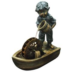 24 Inch Boy With Bucket Boat Fountain