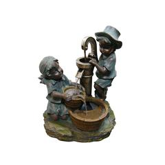 Polyresin Boy And Girl Fetching Water