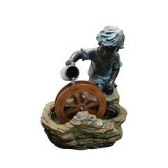 Polyresin Boy With Wheel Fountain