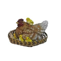 Hen With Chicks In Basket