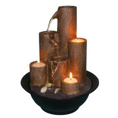 Benzara Tabletop Fountain With Three Candles