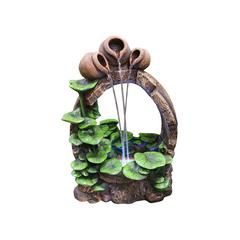 22 Inch Barrel Pot Cascading Fountain With Led Lights