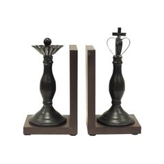 Decorative Royal King and Queen Polystone Bookends, Pair of Two, Black