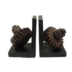 Industrial Style Gear Polyresin Bookends, Pair of 2, Rustic Brown and Black