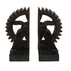 Rusted Gear Themed Book End Set