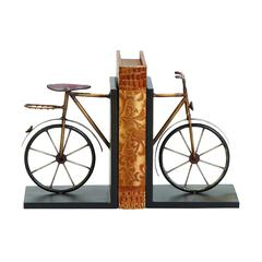 Benzara Metal Bookend With Bicycle Sculpture, Brown and Black