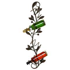 Benzara Metal Leaf Style Wall Wine Holder, Bronze
