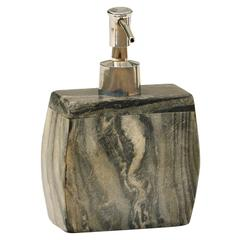 Black Marble Soap Dispenser With Easy Aluminum Push Pump Handle For Bathroom