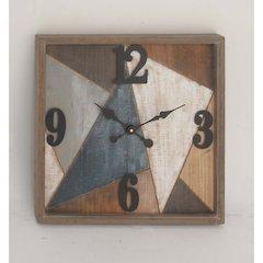 Multi-Color Wood Metal Wall Clock
