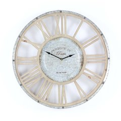 Traditional Metal Wood Wall Clock, Brown And Gray