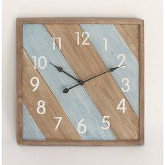 Wood Square Metal Wall Clock