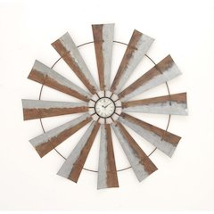 Artisitic Windmill Wall Clock, Brown And Gray