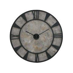 Round Metallic Wood Wall Clock