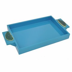 Blue Wooden Tray With Agate Embellish- Benzara