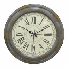 Antiqued Metal Wall Clock - Benzara