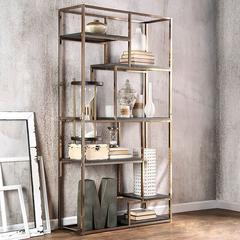 Elvira Contemporary Display Shelf, Champgne Finish