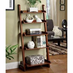 Lugo Transitional Style Ladder Shelf, Antique Oak Finish