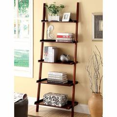 Sion Contemporary Ladder Shelf, Cherry Finish