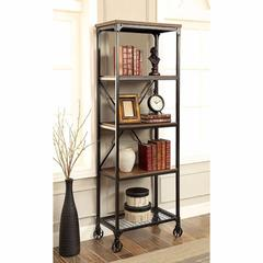 Ventura II Industrial Bookshelf In Medium Oak Finish