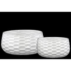 Round Bowl-shaped Pot with Honey Comb Design Set of 2 -White-Benzara
