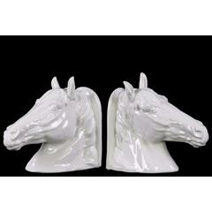 Ceramic Horse Head Bookend Assortment of 2 - White - Benzara