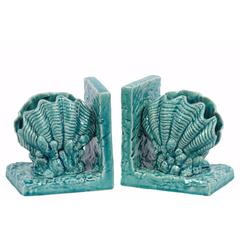 Ceramic Giant Clam Seashell Bookend Set on Base - Blue - Benzara