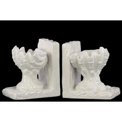Open Valve Clam Seashell on Base Bookend Assortment of 2 - White - Benzara